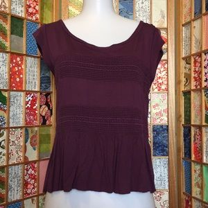 American Eagle Purple Peplum Blouse